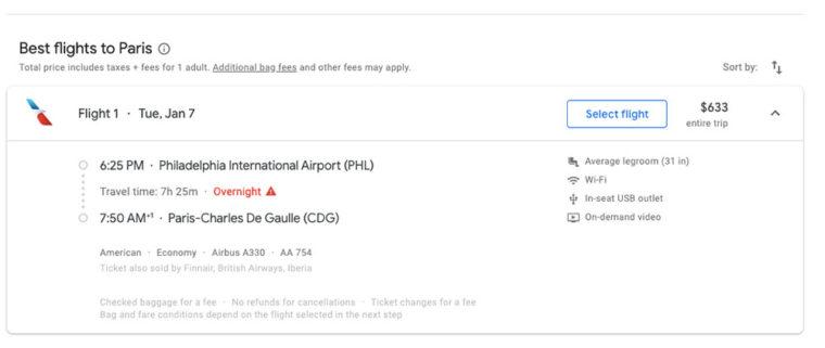 Choosing flight to Paris