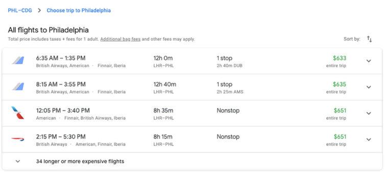 Choosing flight to Philadelphia