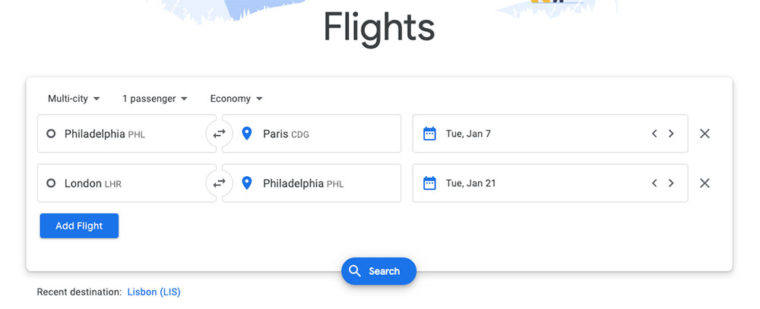 Entering cities and dates into Google Flights