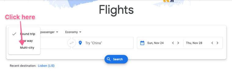 "Choose ""Multi-city"" in Google Flights"