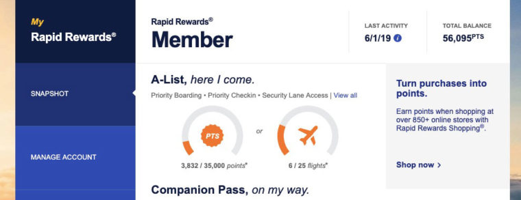 Confirming that points have transferred to Southwest
