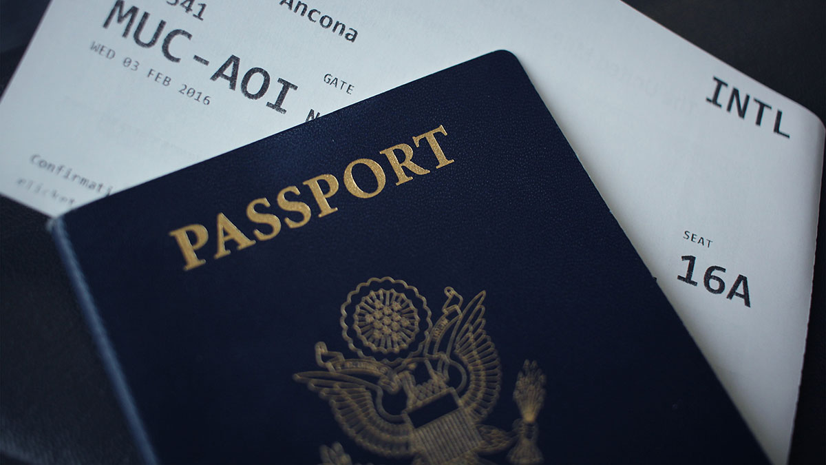 Closeup of U.S. passport