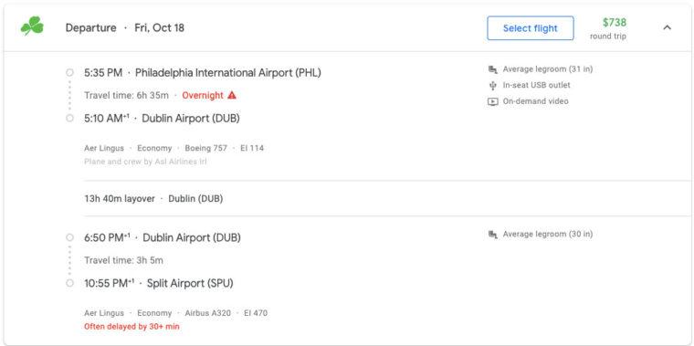 Aer Lingus flight from Philadelphia to Split