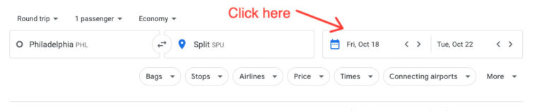 Click on the calendar icon in Google Flights