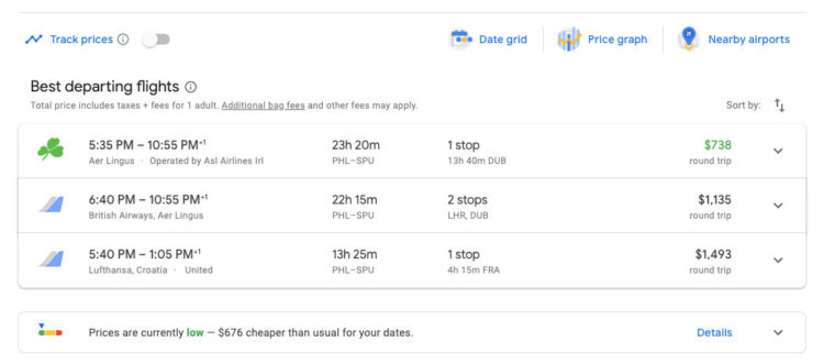 Google Flights prices for trip from Philadelphia to Split