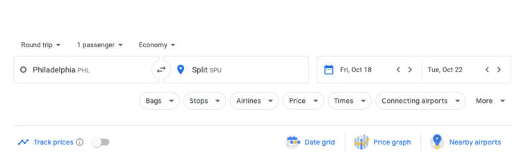 Searching Google Flights for trip from Philadelphia to Split