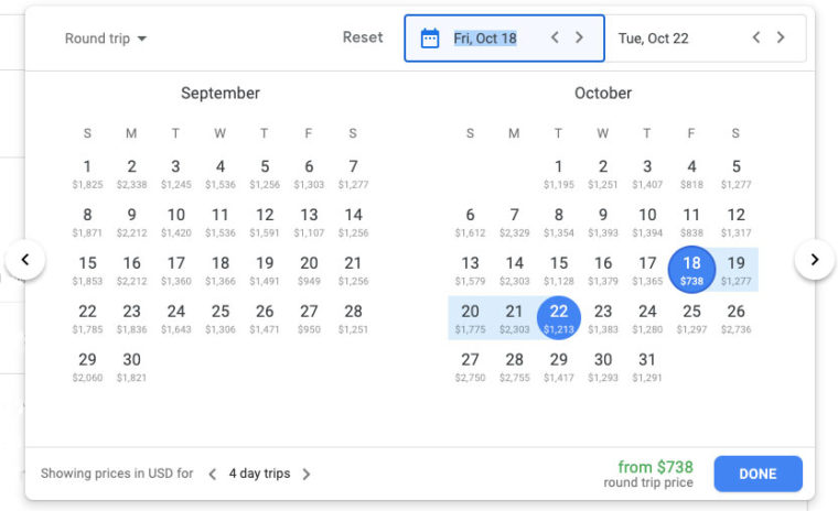 Prices for different dates in Google Flights calendar