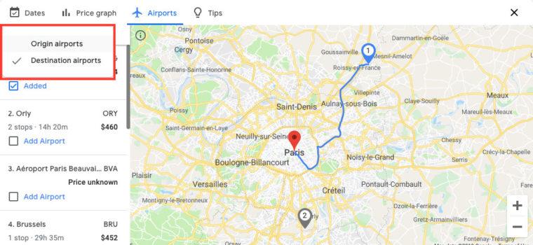 """Click """"Origin airports"""""""