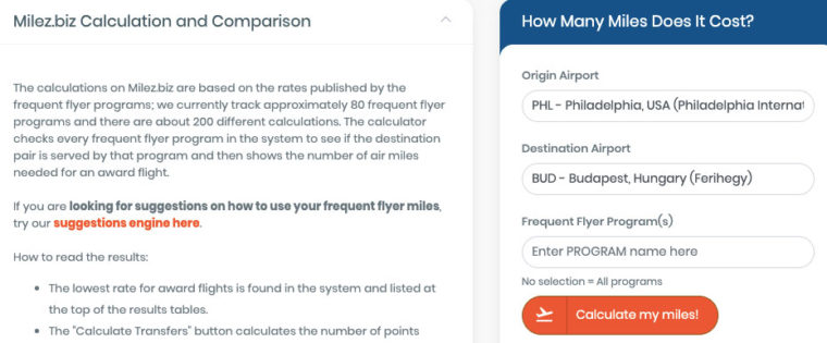 Entering destinations into frequent flyer miles calculator