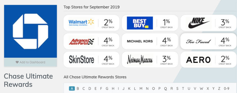 Chase Ultimate Rewards shopping portal deals from Evreward