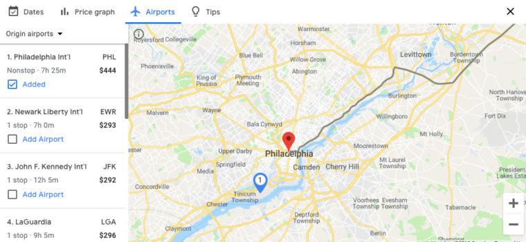 Flights from airports near Philadelphia