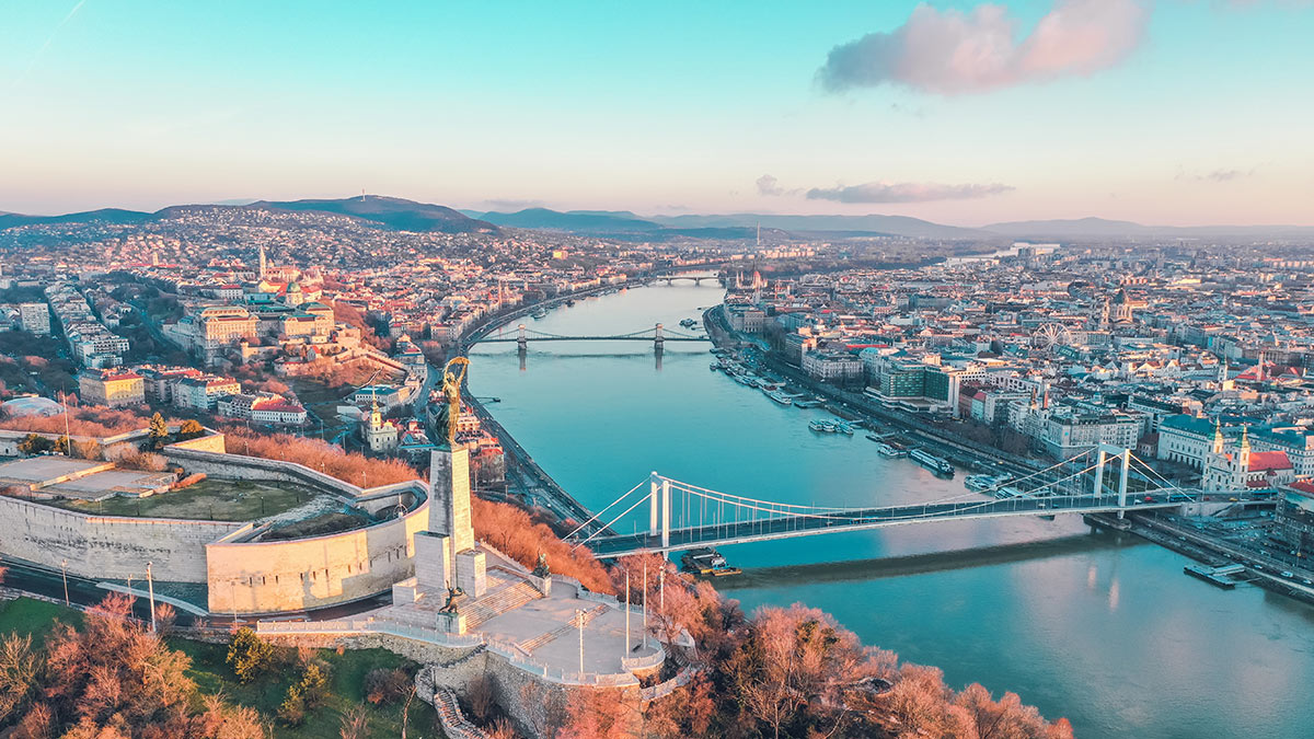 Aerial photo of Budapest and River Danube