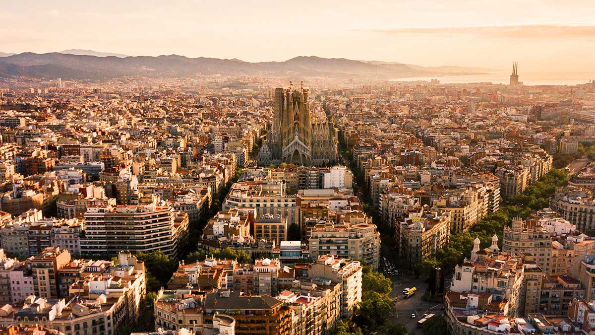 Barcelona seen from above at sunset