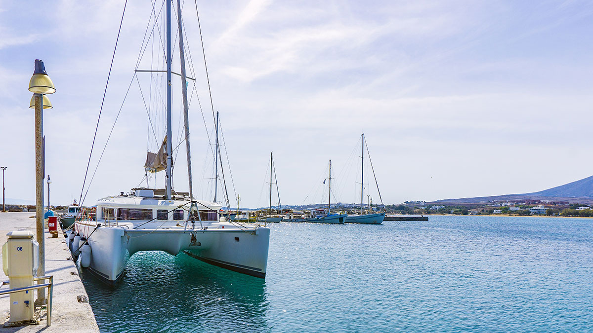 Catamaran docked on the island of Paros, Greece