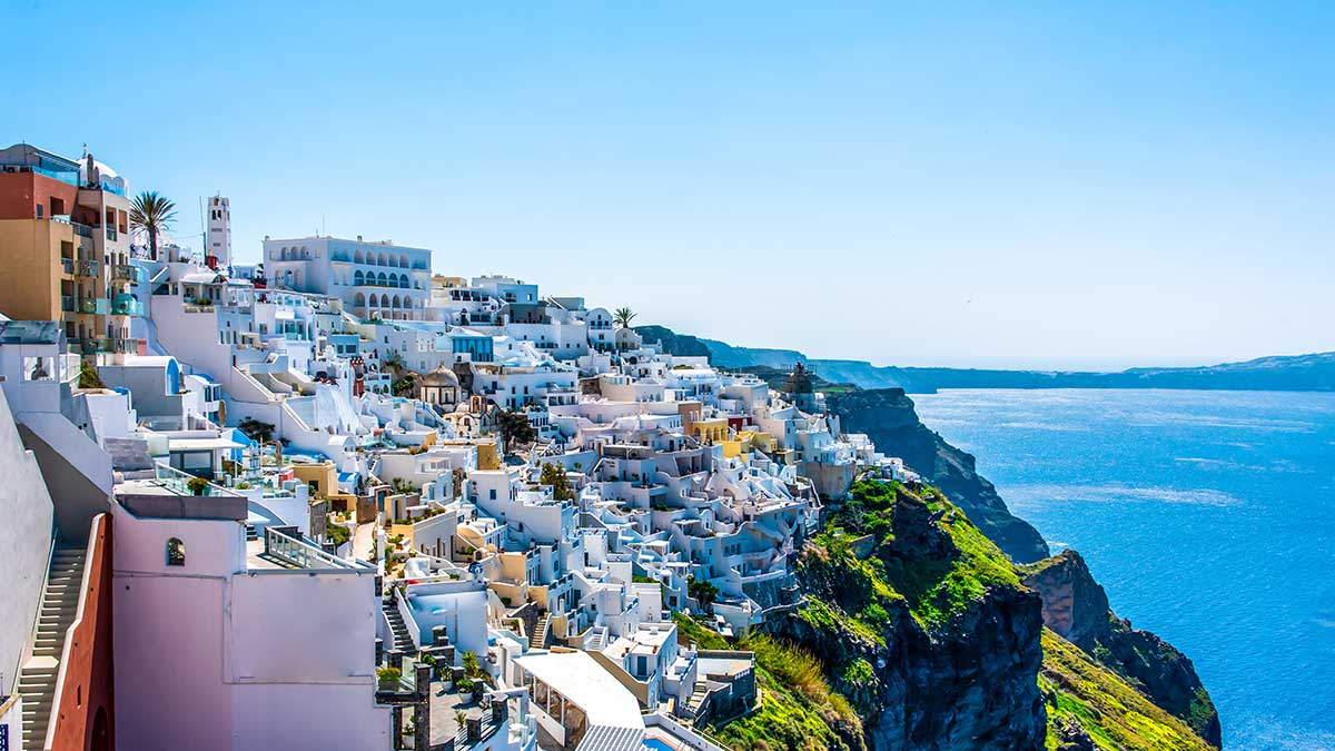 Buildings on the cliffs in Santorini